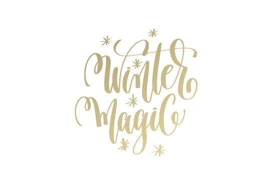 winter magic golden hand lettering winter holidays celebration q