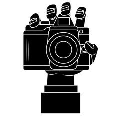Hand holding camera icon vector illustration graphic design