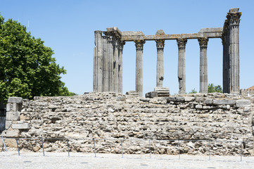Roman ruins in the town of Evora in Portugal.