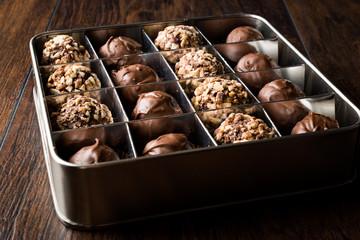 Box of Chocolate Pralines with Hazelnuts.