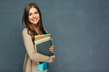 Smiling girl student or woman teacher portrait