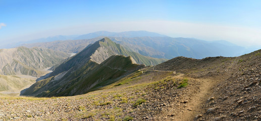 View of the Greater Caucasus mountains from Mountain Babadag trail in Azerbaijan.