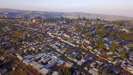 aerial view of tin roof town in rural Ethiopia
