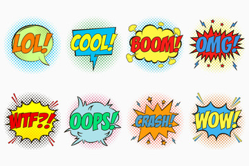 Comic speech bubbles set with emotions - LOL! COOL! BOOM! OMG! WTF?! OOPS! CRASH! WOW! Cartoon sketch of dialog effects in pop art style on dots halftone background. Vector illustration.