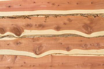 Eastern red cedar bark edge boards