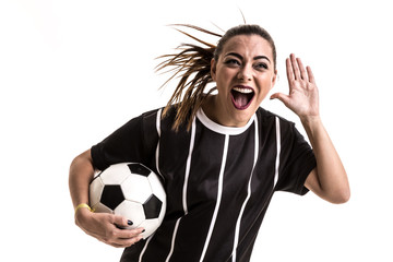 Fan / Sport Player on black and white uniform celebrating on white background