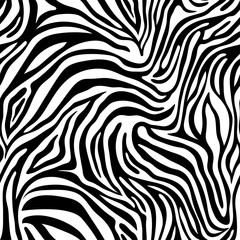 Seamless zebra skin pattern. Wallpaper with black stripes on white background. Zebra stripes hunting camouflage.