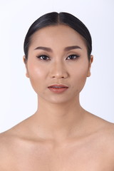 Asian Woman after make up hair style. no retouch, fresh face