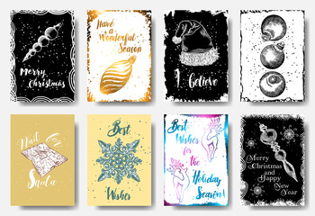 Set of 8 Merry Christmas and Happy New Year hand drawn greeting cards. Have a Wonderful Season, I believe, Wait for Santa, Best Wishes. Vector.