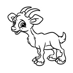 Goat coloring page animal cartoon illustration isolated image