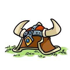 Viking Helmet medieval cartoon illustration isolated image