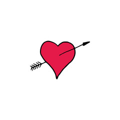 Heart with arrow cartoon hand drawn icon isolated on white background