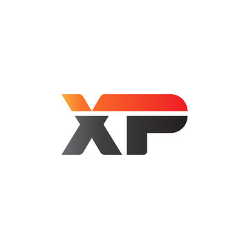 Initial letter XP, straight linked line bold logo, gradient fire red black colors