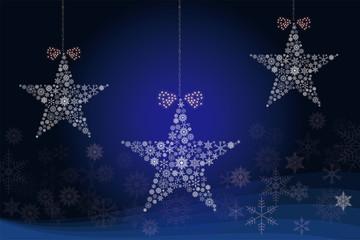 クリスマスイメージ 濃紺|雪の結晶で描いた3連の星のオーナメント|Christmas ornament