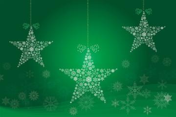 クリスマスイメージ 緑|雪の結晶で描いた3連の星のオーナメント|Christmas ornament