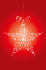 クリスマスイメージ 赤|雪の結晶で描いた星のオーナメント|Christmas ornament