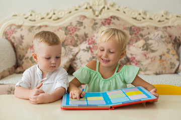 Little Girl Reading Book to Brother at Home