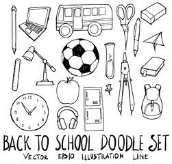 Set of School illustration Hand drawn doodle Sketch line vector eps10