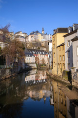 A view of old Luxembourg from bridge over Alzette river