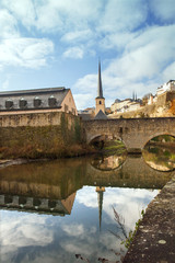 A view of Alzette river near St Jean du Grund river, Luxembourg