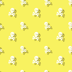 Skull And Bones Halloween Party Seamless Pattern
