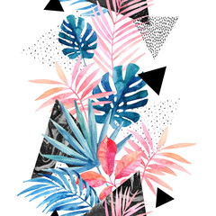 Photo sur Toile Empreintes Graphiques Modern art illustration with tropical leaves, grunge, marbling textures, doodles, geometric, minimal elements.