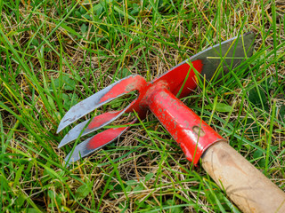 Hoe lies on the green lawn. Tools for garden work.