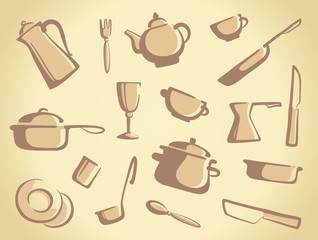 Background of kitchen ware