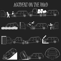 mini van crash and accidents icons set white stripe line concept
