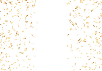 Golden confetti with copy space. Vector illustration.