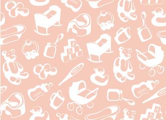Pink children seamless background