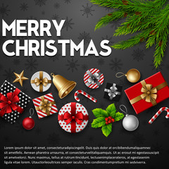 Christmas background with elements on black background