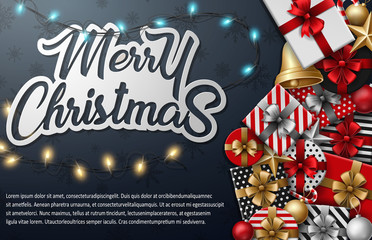 Merry christmas typographical with different gift box and christmas elements on black background