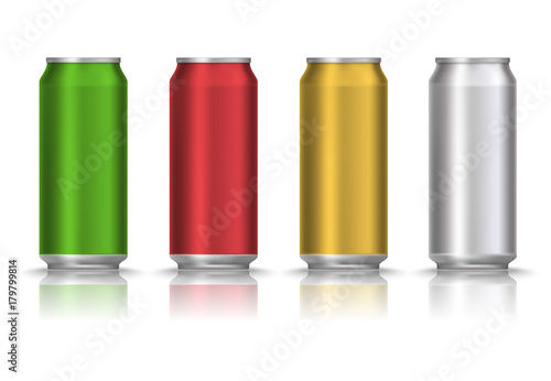realistic green red yellow and white beer can or tin with drink