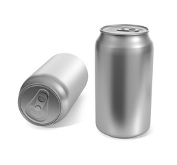 aluminum cans isolated on a white background . 3d render