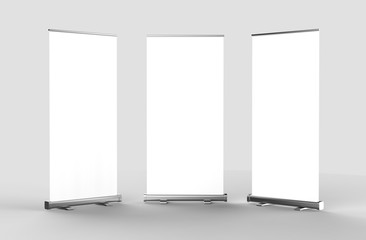 White blank empty high resolution Business Roll Up and Standee Banner display mock up Template for your Design Presentation. 3d render illustration. 100x200cm