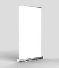 White blank empty high resolution Business Roll Up and Standee Banner display mock up Template for your Design Presentation. 3d render illustration. 150x200cm.