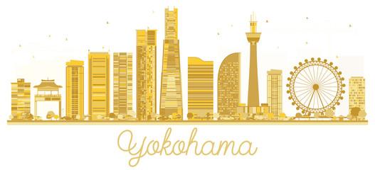 Yokohama Japan City skyline golden silhouette.
