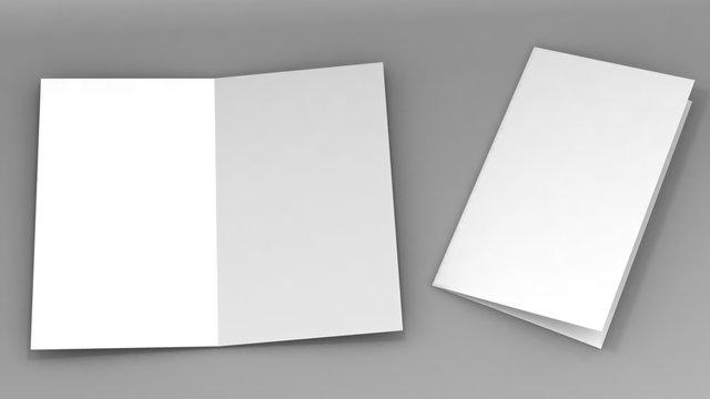 A3 half-fold brochure blank white template for mock up and presentation design. 3d illustration.