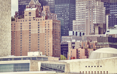 Close up view of New York architecture, color toned picture, USA.