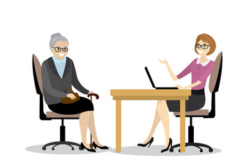 Cartoon business woman and grandmother talking in office,