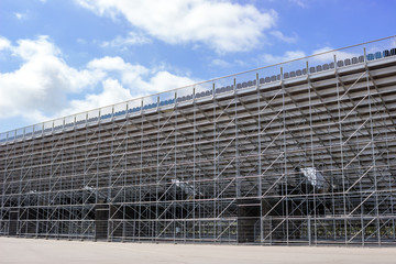 Scaffolding. Construction of a new stadium