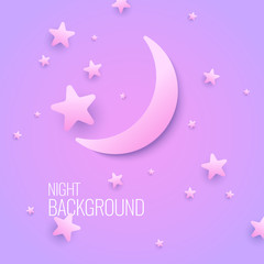 Beautiful background with the moon and stars in pastel colors