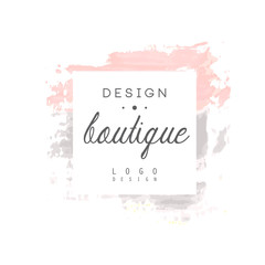 Boutique design logo, badge for fashion clothes shop, beauty salon or cosmetician watercolor vector Illustration