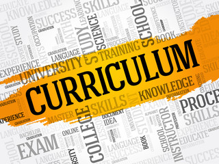 CURRICULUM word cloud collage, education business concept