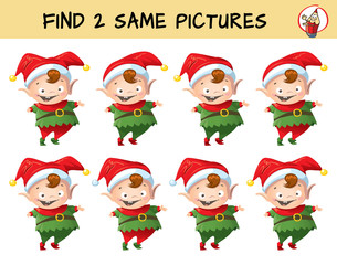 Funny Christmas elf. Find two same pictures. Educational matching game for children. Cartoon vector illustration