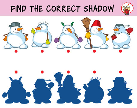 Funny snowmen. Find the correct shadow. Educational matching game for children. Cartoon vector illustration