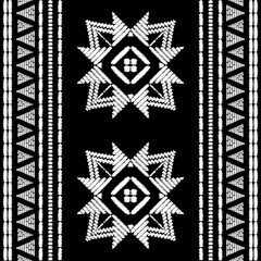 Aztec embroidery pattern design seamless vector. Abstract geometric border texture with handmade ornament. Tribal print for boho home decor textile, rug, pillow case, blanket, fashion clothing fabric.