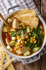 spicy tortilla soup with chicken, cilantro, tomatoes, avocado and corn close-up. Vertical top view