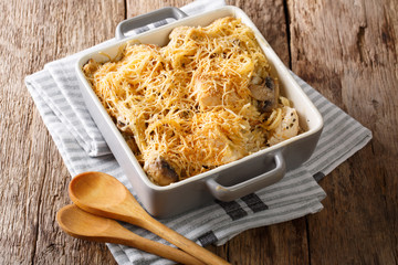 North American tetrazzini with chicken close-up in a baking dish. horizontal